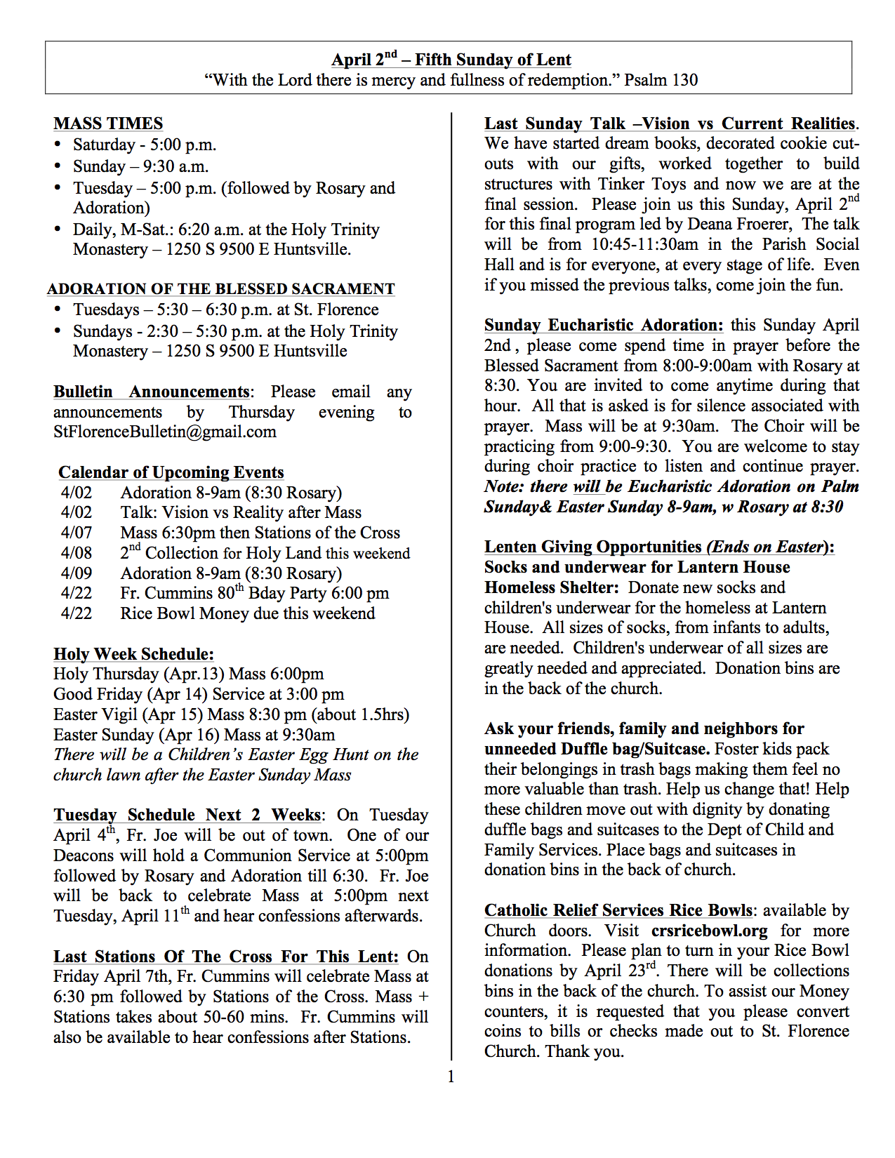 church bulletin april 2 2017