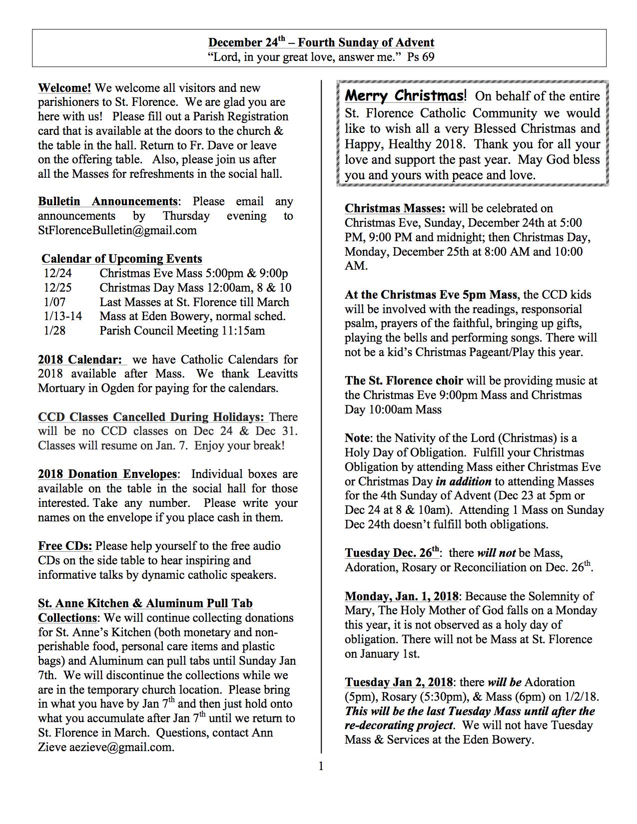 Church Bulletin December 24, 2017 | St  Florence Catholic Church