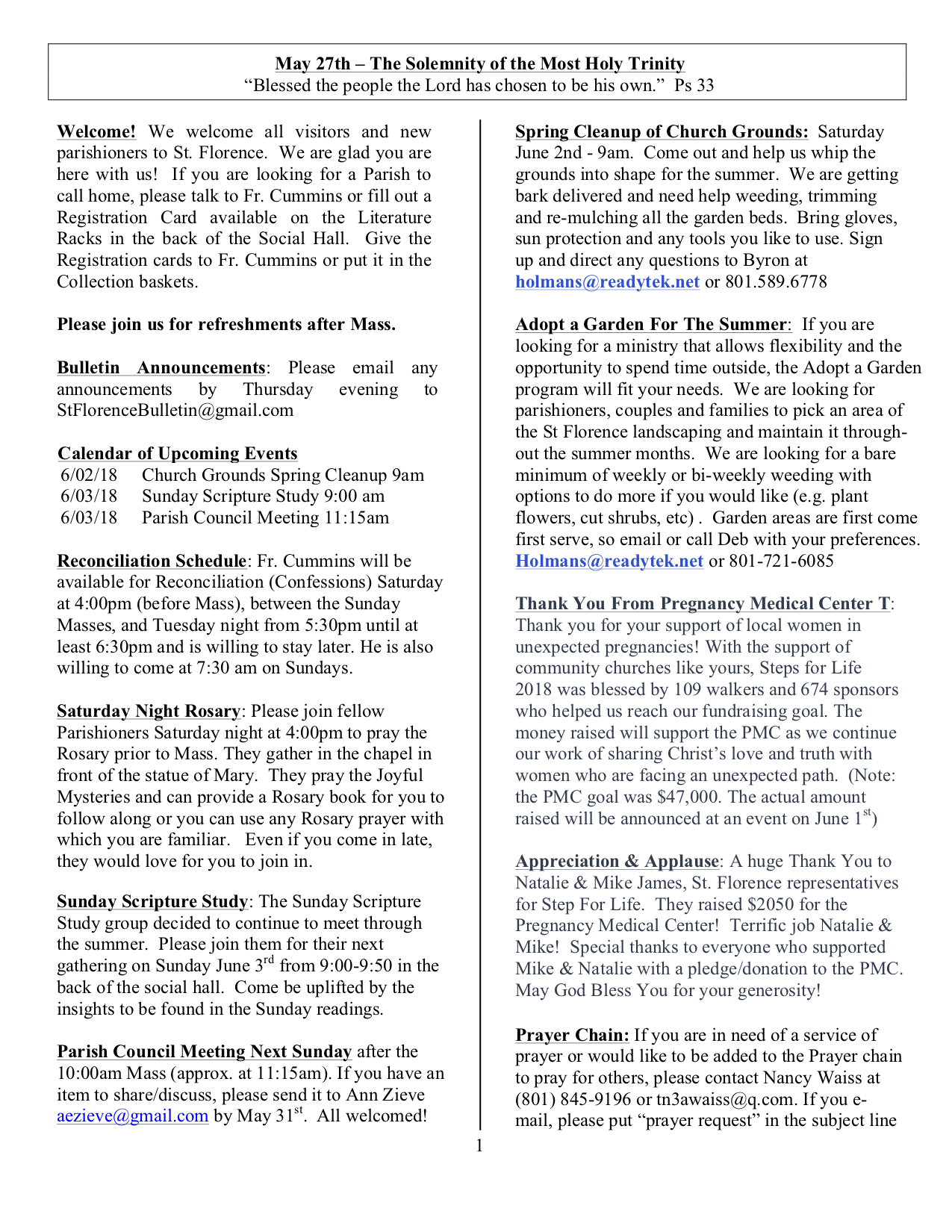 News st florence catholic church official website of st church bulletin may 27 2018 altavistaventures Images