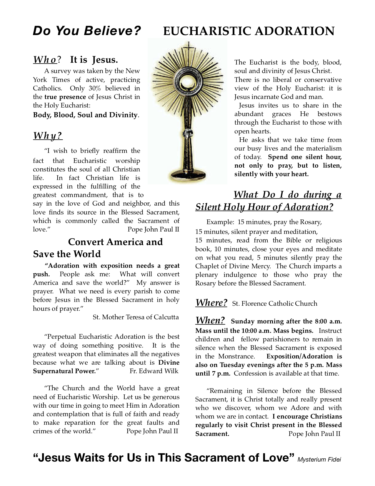 Who, What, Where & When of Holy Hour/Eucharistic Adoration