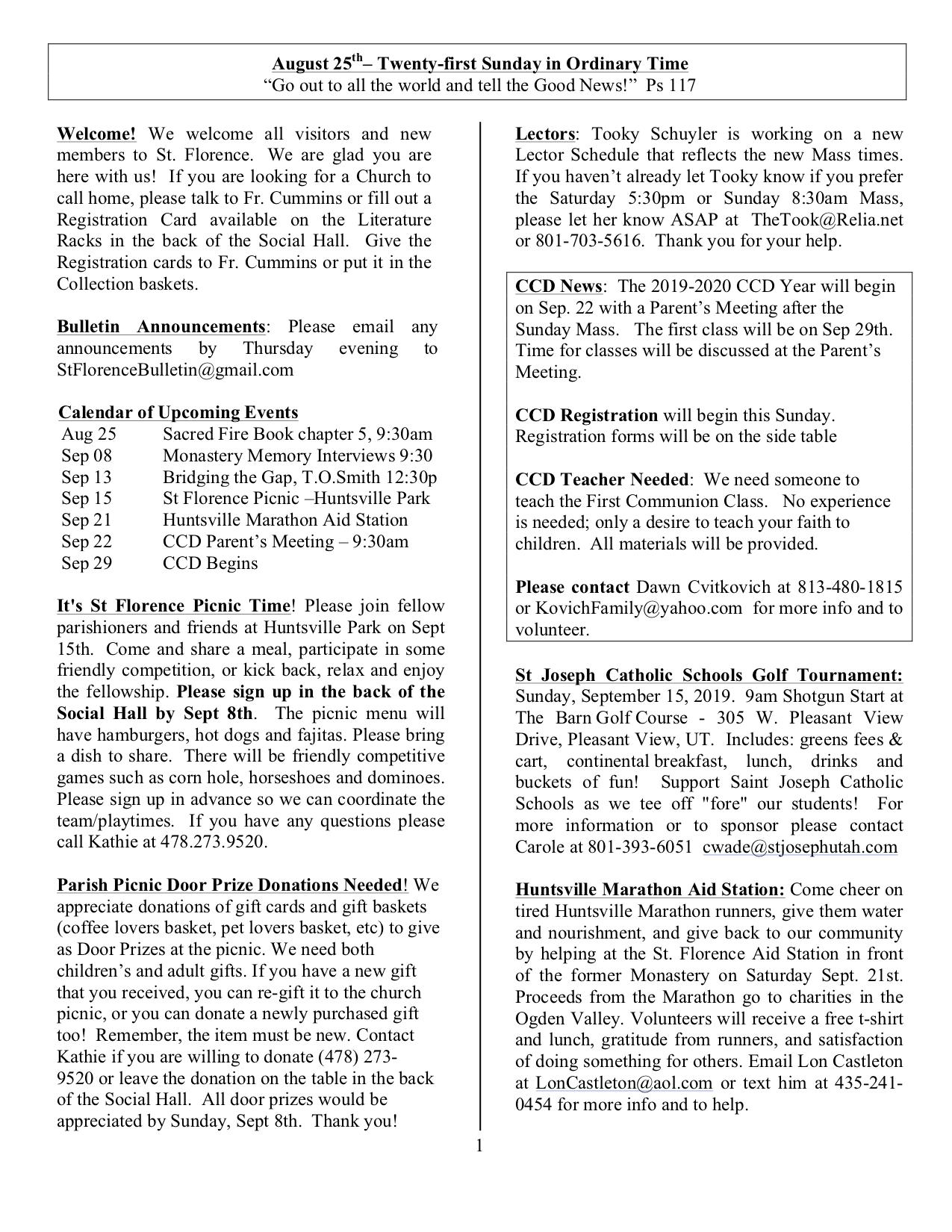 Events In Massachusetts August 25 2020.Church Bulletin August 25 2019 St Florence Catholic Church